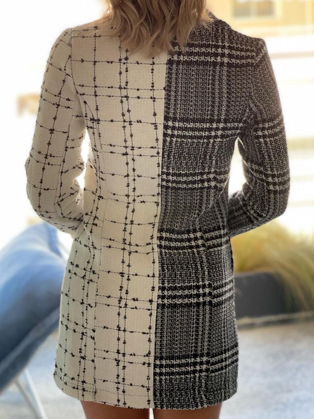 φορεμα καρο ασπρομαυρο τυπου blazer