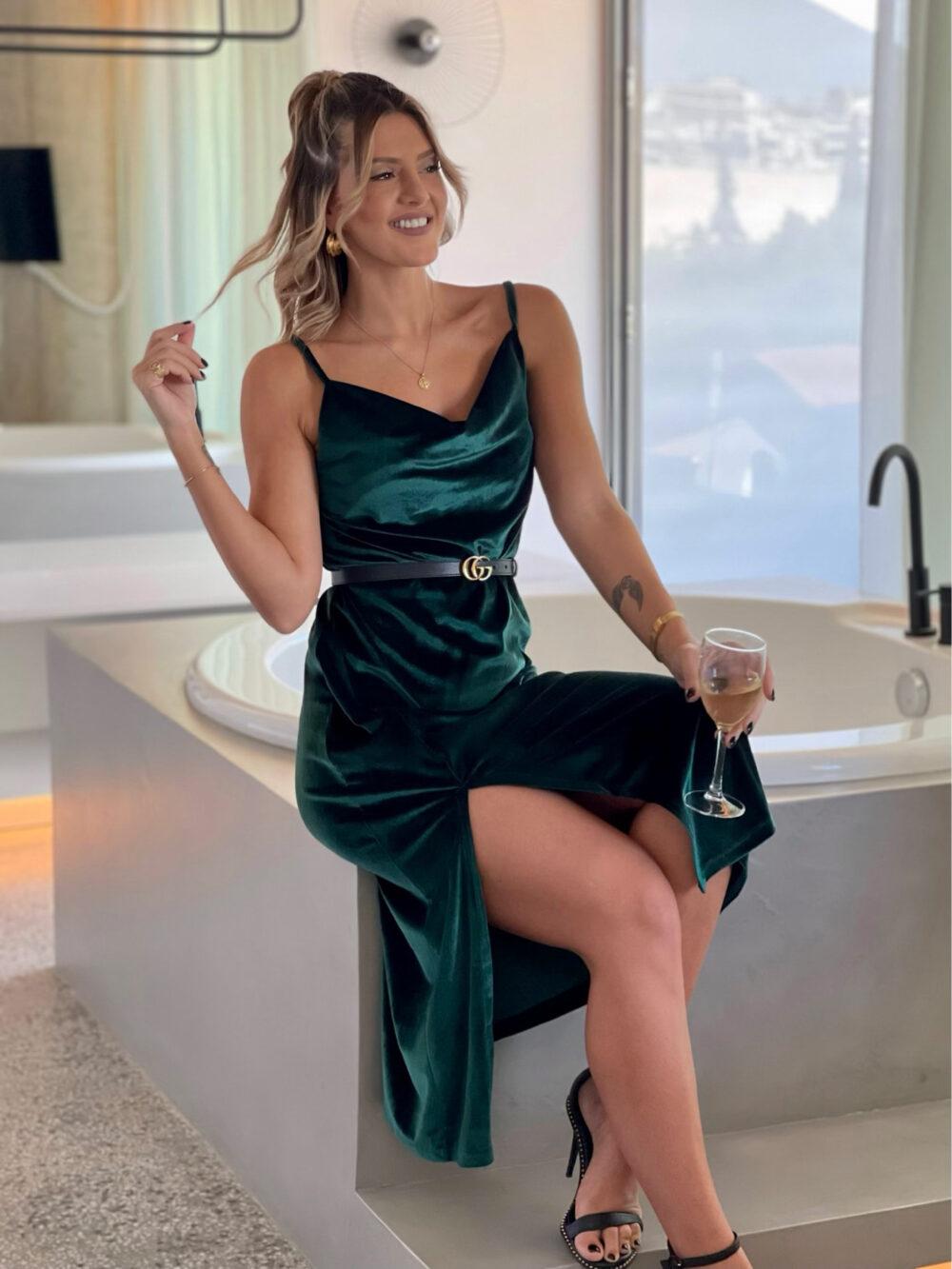 φορεμα κυπαρισσι μιντι βελουτε αμανικο